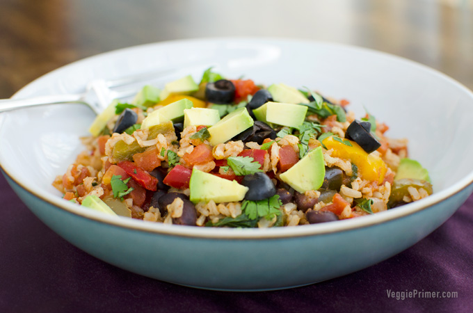 Quick Rice and Beans - This gluten-free vegan quick rice and beans dish is a lifesaver on busy weeknights. It's tasty and filling, and you can use the leftovers in a variety of ways! | VeggiePrimer.com