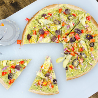 Spinach Hummus Pizza with Artichoke Hearts