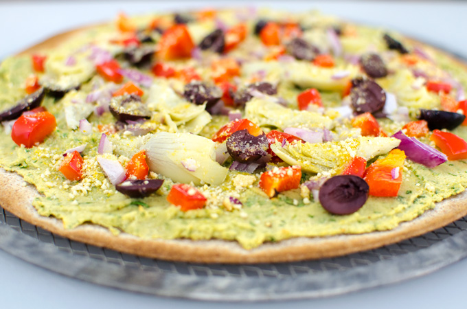 Spinach Hummus Pizza