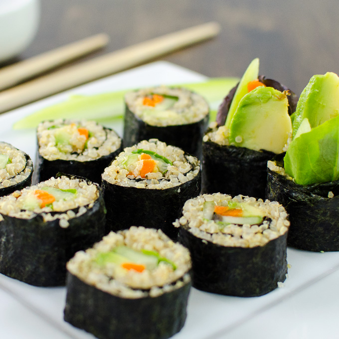 ... ingredients and supplies, give these veggie quinoa sushi rolls a try