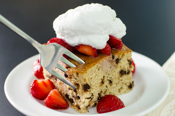 Gluten Free Chocolate Chip Cake with Strawberries and Coconut Cream