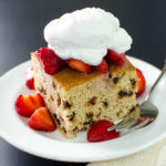 Gluten-free Chocolate Chip Cake with Strawberries and Coconut Cream