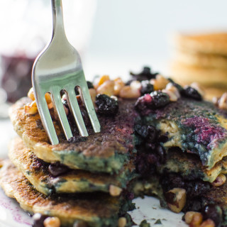 Oatmeal Chia Pancakes with Blueberry Walnut Syrup – V and GF