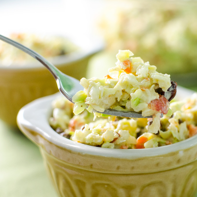 veggie coleslaw - made with avocado mayo and cashew sour cream