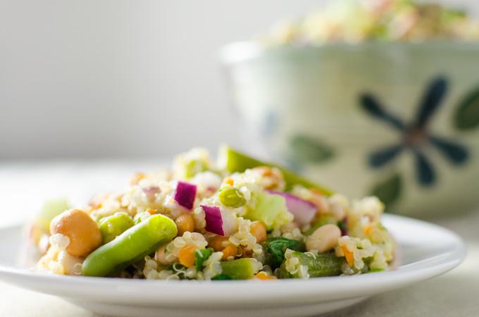 3 Bean Quinoa Salad with lime dressing | VeggiePrimer.com