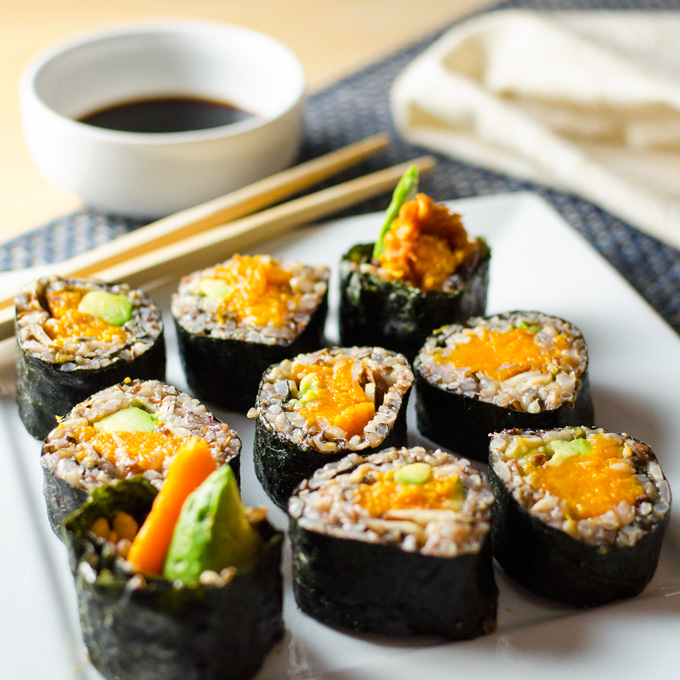 Sweet Potato Sushi Rolls with wild rice and cinnamon | VeggiePrimer.com