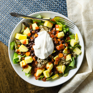 Black Bean Mango Salad with brown rice