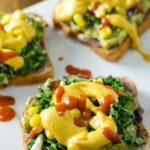 "Nacho Avocado Toast - a delicious vegan, gluten free, ""cheesy"" recipe that's quick and easy! 