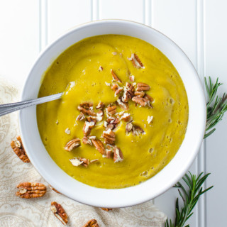 Acorn Squash Soup with Rosemary and Pecans