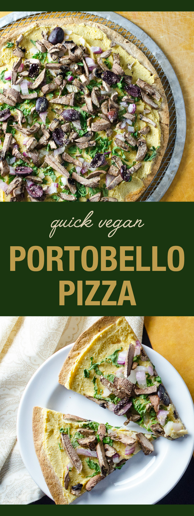 Quick Vegan Portobello Pizza - using a large tortilla as a pizza crust makes this pizza recipe a snap to put together - use a gluten-free tortilla to make it gluten-free | VeggiePrimer.com
