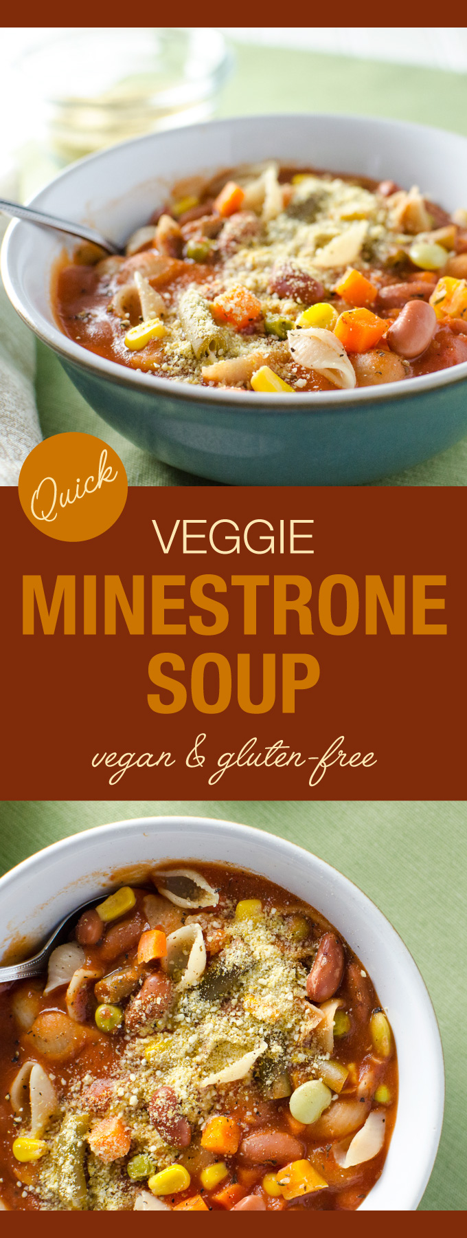 Quick Veggie Minestrone Soup - This thick, hearty, vegan and gluten-free soup can be made in less than 30 minutes with ingredients that are easy to keep on hand   VeggiePrimer.com