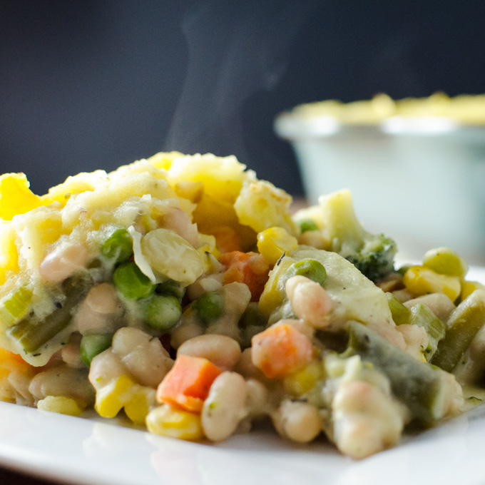 White Bean Shepherd's Pie - This vegan and gluten-free recipe is both tasty and easy to make - with a little planning you can prepare this warm, creamy, flavorful and satisfying meal in about an hour.   VeggiePrimer.com
