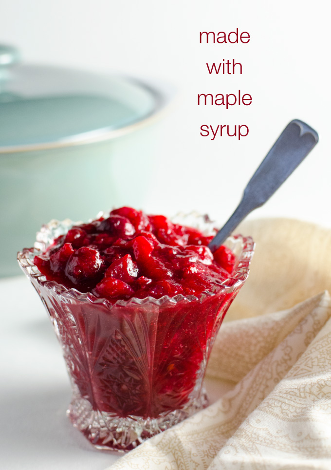 Easy Orange Cinnamon Cranberry Sauce - this delicious whole berry recipe is made with maple syrup and takes about 10 minutes to prepare | VeggiePrimer.com
