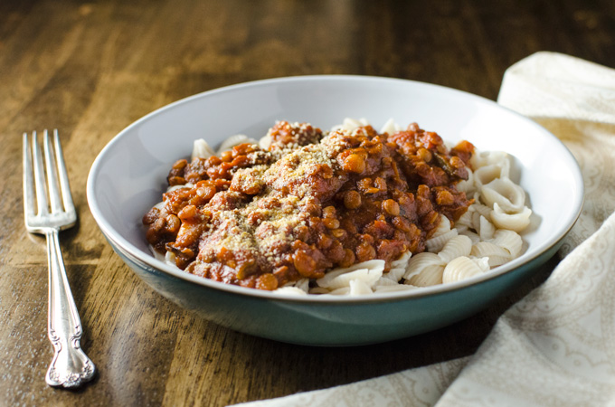 Rice Cooker Vegan Lentil Bolognese Sauce - made with simple ingredients and easy to prepare, this plant-based recipe offers a pleasing meaty texture without the meat!   VeggiePrimer.com
