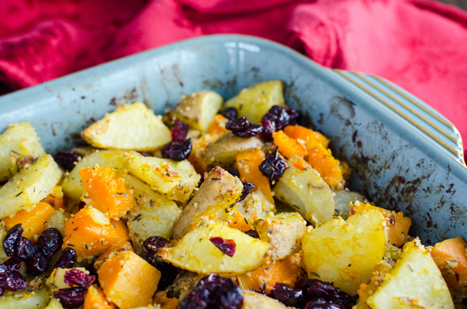 Vegan Parmesan Roasted Potatoes & Butternut Squash - this tasty recipe looks fancy enough for a holiday side dish, but is simple enough for busy weeknight meals | VeggiePrimer.com