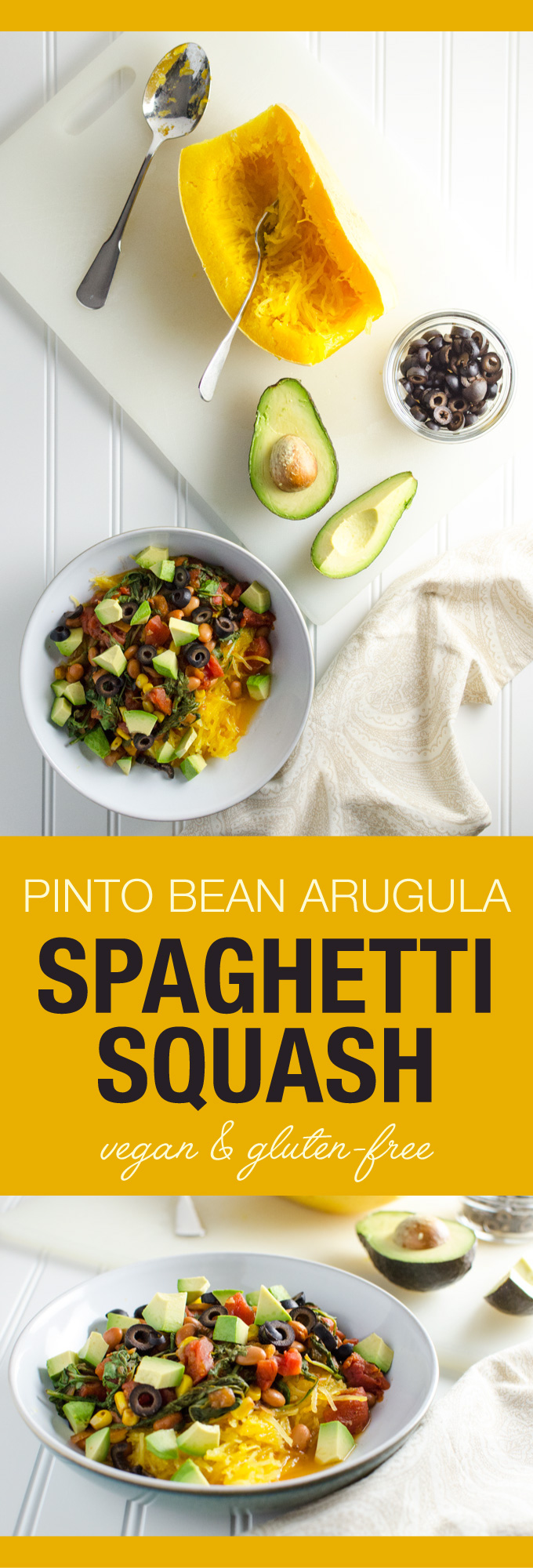 Easy Spaghetti Squash with Pinto Beans and Arugula - this simple recipe offers a lovely blend of Mexican cuisine inspired flavors - squash is cooked in a slow cooker for added convenience   VeggiePrimer.com