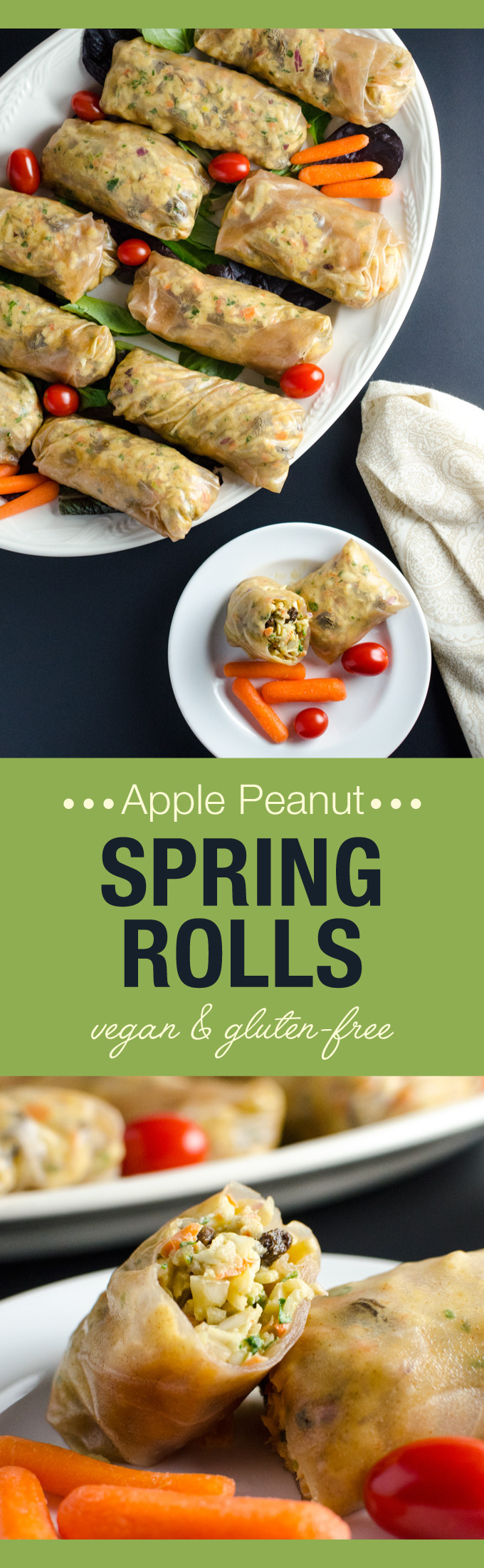 Apple Peanut Spring Rolls - this easy raw vegan and glutenfree recipe offers a lovely blend of textures and sweet spicy flavors - perfect plantbased Super Bowl fare | VeggiePrimer.com