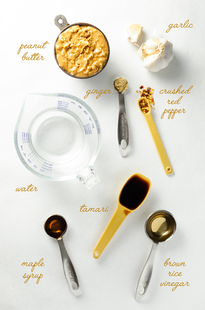 Easy Peanut Sauce - Whip up this simple blender recipe in minutes - this vegan and gluten-free sauce goes great with sushi, salad and spring rolls! | VeggiePrimer.com