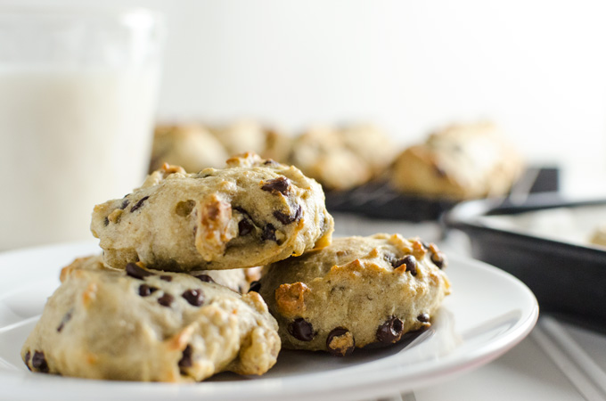 Gluten-Free Vegan Chocolate Chip Cookies - made with apple sauce and maple syrup - this healthy recipe yields moist and tasty cookies with a cake-like texture | VeggiePrimer.com