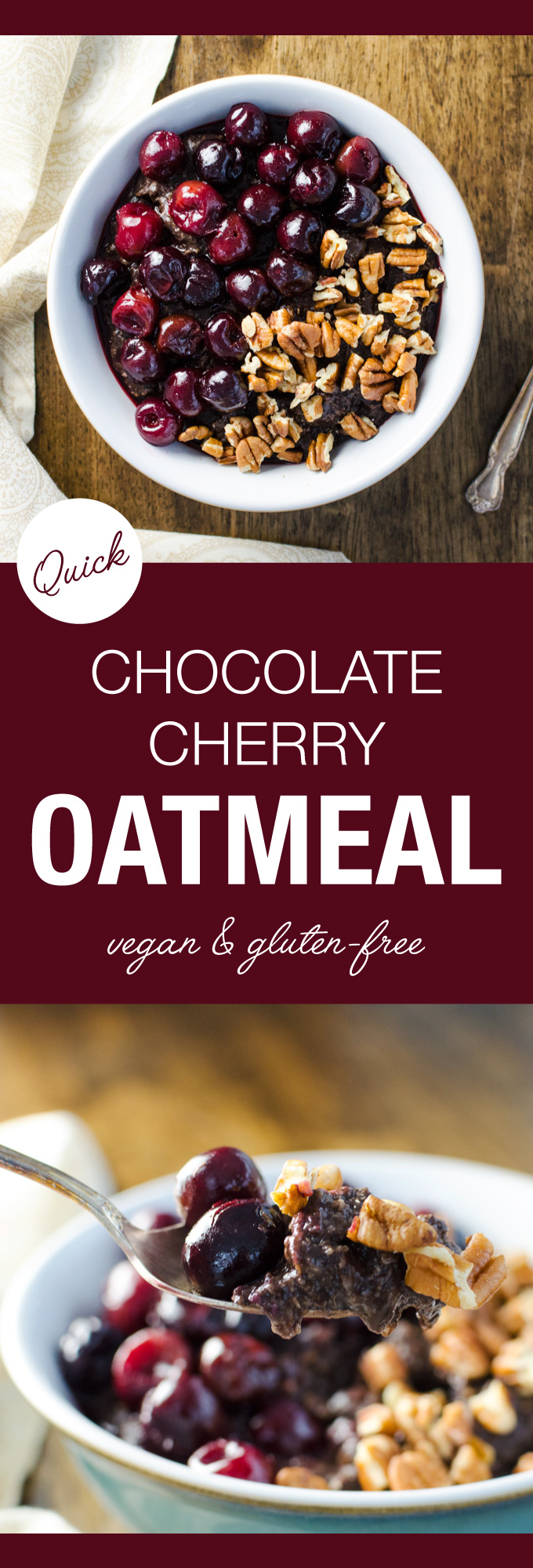 Quick Chocolate Cherry Oatmeal - this easy vegan and gluten-free breakfast recipe is full of nutrient dense ingredients - cooked banana and warmed cherries add just the right amount of natural sweetness.   VeggiePrimer.com