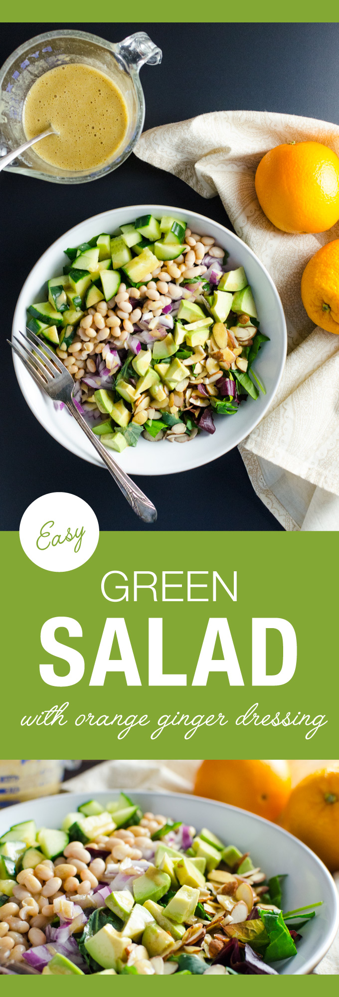 Easy Green Salad with Orange Ginger Dressing - just a few minutes of chopping and blending deliver a healthy plant-based vegan gluten-free meal! | VeggiePrimer.com