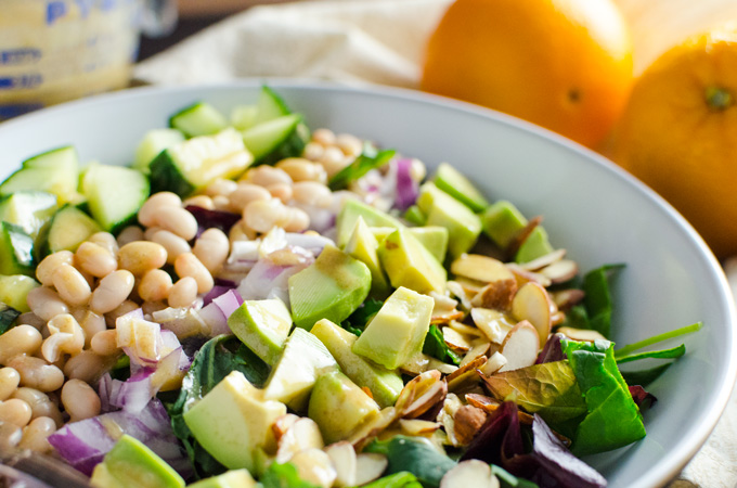 Easy Green Salad with Orange Ginger Dressing - just a few minutes of chopping and blending deliver a healthy plant-based vegan gluten-free meal!   VeggiePrimer.com
