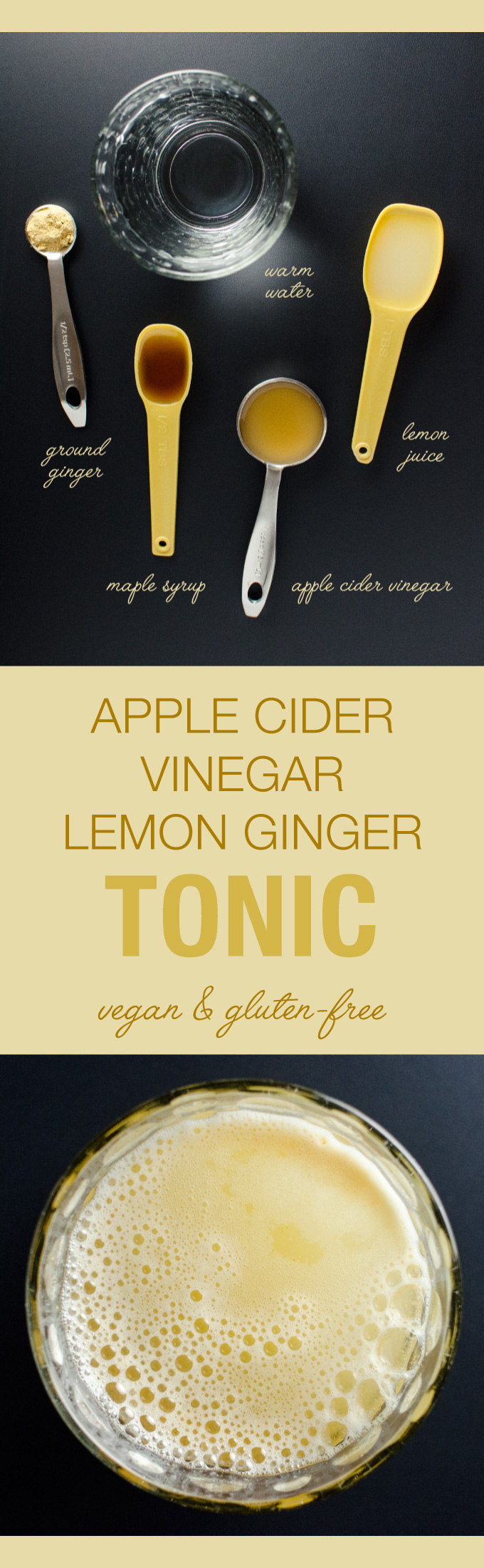 Apple Cider Vinegar Lemon Ginger Tonic - a pleasantly tart and spicy drink that just might give you the edge you need to fight off nasty germs! | Veggieprimer.com