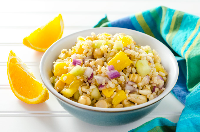 Brown Rice Citrus Salad - this easy vegan and gluten-free recipe offers a pleasing blend of flavors and textures - great for a side dish, but hearty enough for a meal! | VeggiePrimer.com