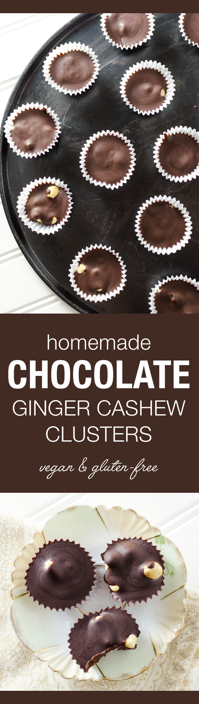 Homemade Chocolate Ginger Cashew Clusters - this gluten-free vegan candy recipe will satisfy your chocolate cravings without increasing your cane sugar intake. It's also super quick and easy to prepare! | VeggiePrimer.com