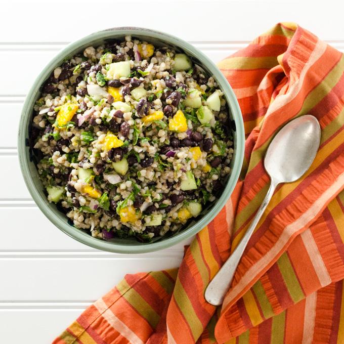 Black Bean Mango Buckwheat Salad - this vegan gluten-free recipe makes a great lunch or side dish, the zesty lime dressing makes it extra tasty!   VeggiePrimer.com