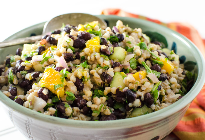 Black Bean Mango Buckwheat Salad - this vegan gluten-free recipe makes a great lunch or side dish, the zesty lime dressing makes it extra tasty! | VeggiePrimer.com