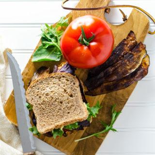Perfect Plant-Based BLT Sandwich - eggplant bacon and vegan parmesan hummus are delicious substitutes in this tasty vegan gluten-free recipe. | VeggiePrimer.com