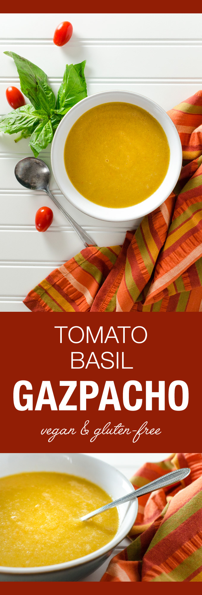 Simple Tomato Basil Gazpacho - an easy raw vegan gluten-free cold soup recipe you can mix up in your high-speed blender | VeggiePrimer.com