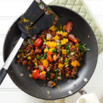 Veggie Chickpea Flour Scramble - this vegan gluten-free recipe is my plant-based version of a western omelet. The savory mixture is loaded with flavor and healthy protein. | VeggiePrimer.com