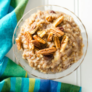 Instant Pot Buckwheat Porridge - you can prepare this gluten-free vegan recipe in less than thirty minutes. Naturally sweetened with banana, it has the creamy consistency of rice pudding | VeggiePrimer.com