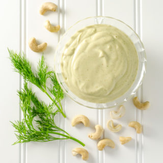 Creamy Cashew Dill Dressing - you only need about 5 minutes and a few simple ingredients to make this tasty vegan gluten-free recipe. Use it as a sandwich spread, dip or salad dressing |VeggiePrimer.com