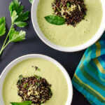 Curried Cucumber Soup with Black Quinoa - this gluten-free vegan cold soup recipe looks fancy but it's incredibly easy to prepare. The sweet curry and black quinoa offer a delicate blend of pleasing flavors and textures | VeggiePrimer.com
