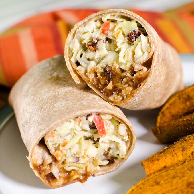 Vegan BBQ Tempeh Coleslaw Wrap - you can prepare this sandwich recipe in less than five minutes with easy make-ahead ingredients - it's the perfect packable lunch - and can be made gluten-free too! | VeggiePrimer.com