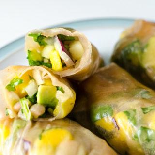 White Bean Mango Spring Rolls - the ingredients in this gluten-free vegan recipe also make a great salad or sandwich wrap! | VeggiePrimer.com