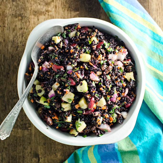 Black Rice Veggie Salad - A.K.A. Forbidden Rice - you could use brown rice in this gluten-free vegan recipe, but it wouldn't look nearly as pretty! | VeggiePrimer.com
