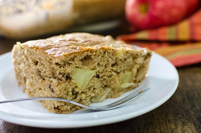 Easy Gluten-Free Apple Snack Cake - mix and bake this simple vegan recipe in the same pan! | VeggiePrimer.com