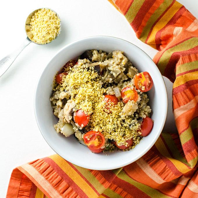 Tomato Eggplant Quinoa Bowl - this vegan gluten-free recipe is a quick and easy way to use garden veggies | VeggiePrimer.com