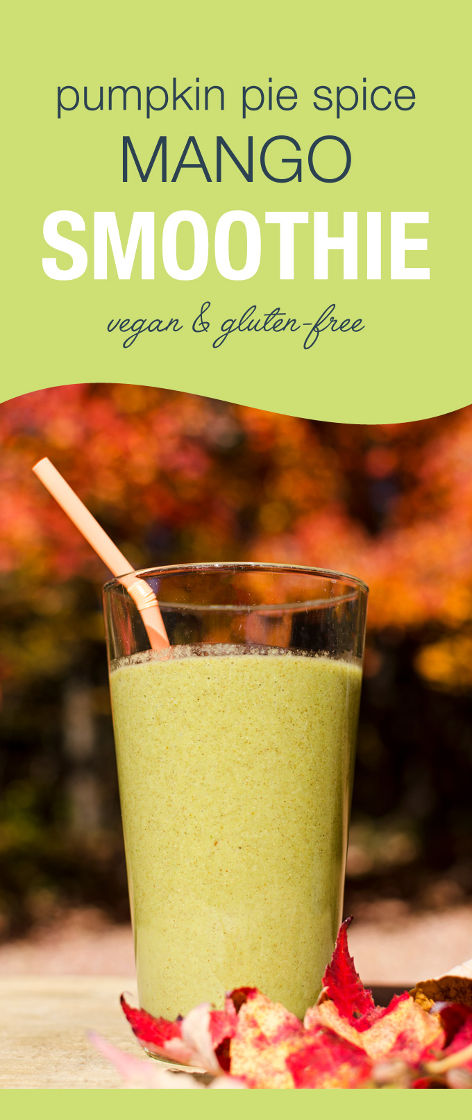 Pumpkin Pie Spice Mango Smoothie - You can whip up this tasty gluten-free vegan recipe in minutes with six easy-to-keep-on-hand ingredients   VeggiePrimer.com