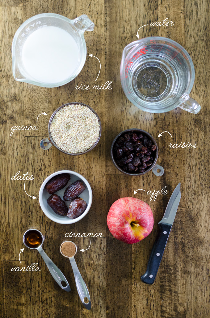 Ingredients for instant pot apple cinnamon quinoa porridge