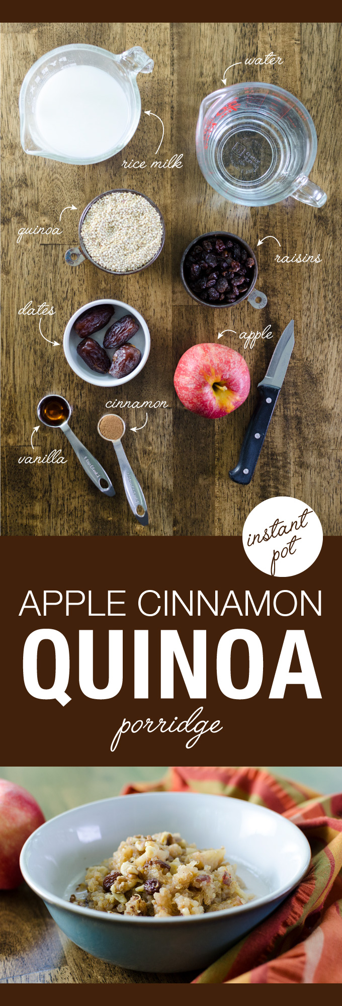 Instant Pot Apple Cinnamon Quinoa Porridge - delicious vegan and gluten-free recipe