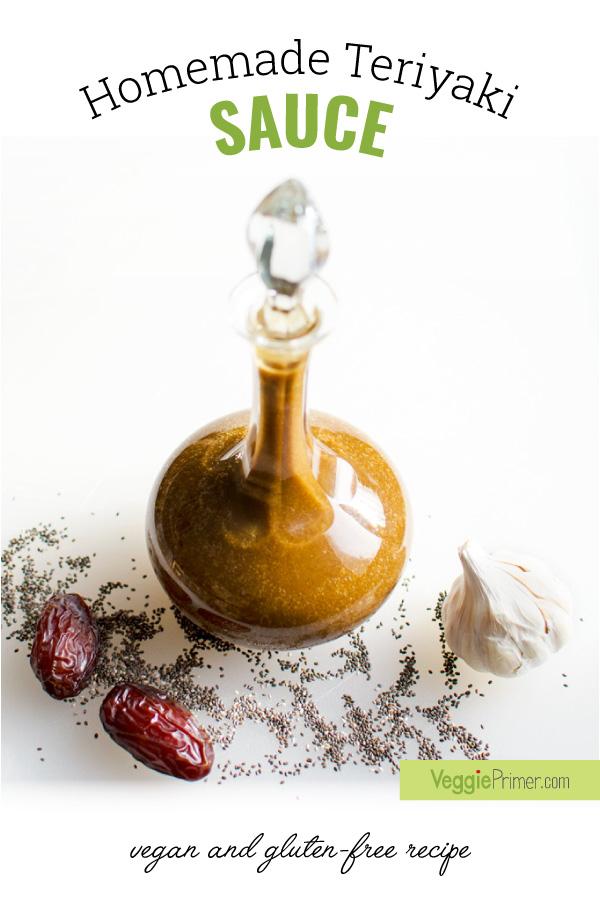 bottle of homemade gluten-free vegan teriyaki sauce