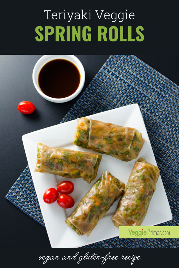 Teriyaki Veggie Spring Rolls - this vegan and gluten-free recipe is quick and easy to assemble. Made with brown rice wrappers, they are light and tasty and surprisingly filling.
