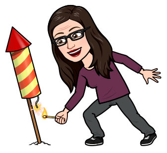 Margarets Bitmoji launching a rocket