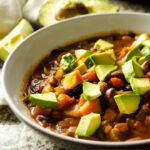 Bowl of 3-Bean Chili - closeup