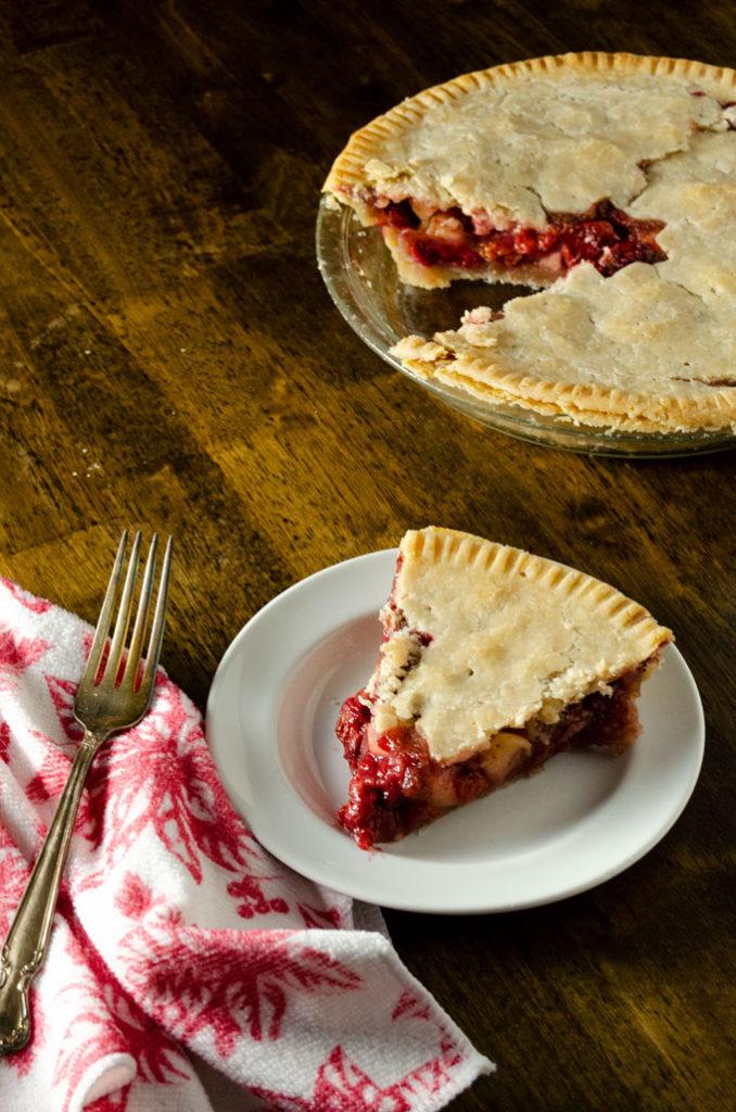 Gluten-Free Vegan Cherry Apple Pie with one slice
